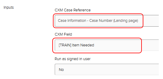 Jadu XFP logics Inputs section. Case information - Case number (landing page) and example CXM field [TRAIN] Item Needed highlighted.
