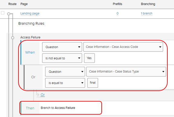 Page branching options with branch selections When, Or, and Then highlighted.