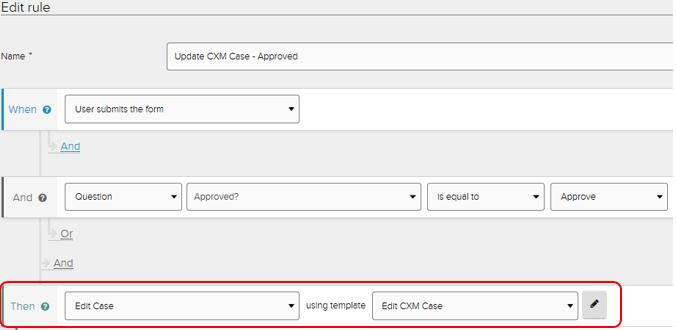 Jadu XFP edit case rule highlighted.