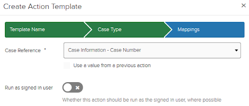 Action template case reference example page Case Information - Case Number