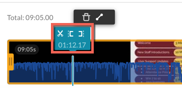 Kaltura video editor timeline. Trimming options highlighted.