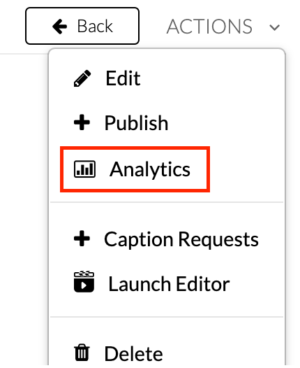 Kaltura  media page.  Actions dropdown menu is selected. Analytics option is  highlighted.