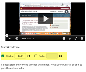 Kaltura embed options. Start and end times feature is highlighted.