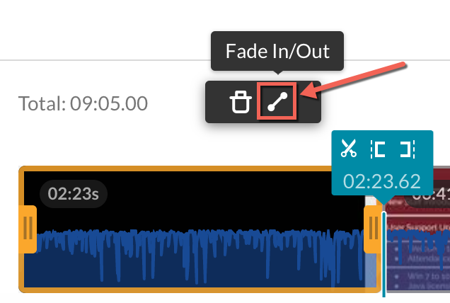 Kaltura video editor with a split created. Fade In/Out option highlighted.