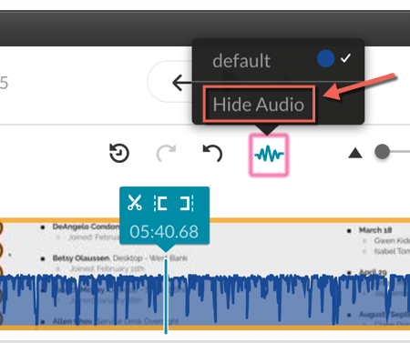 Kaltura video editor. A section of audio selected. Select Audio icon opens two options: Default and Hide Audio. Hide Audio highlighted.