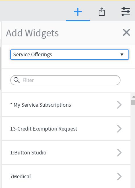 widget menu with service offerings selected
