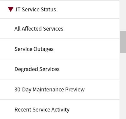 it service status drop down selected