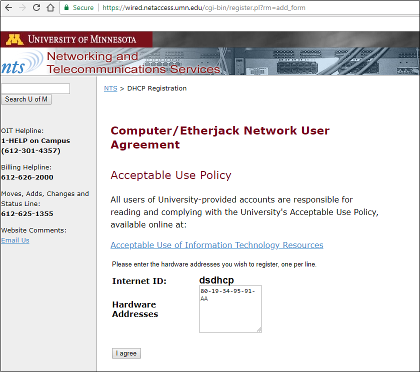 Network and Telecommunications Services DHCP Registration page. A Hardware address is entered.