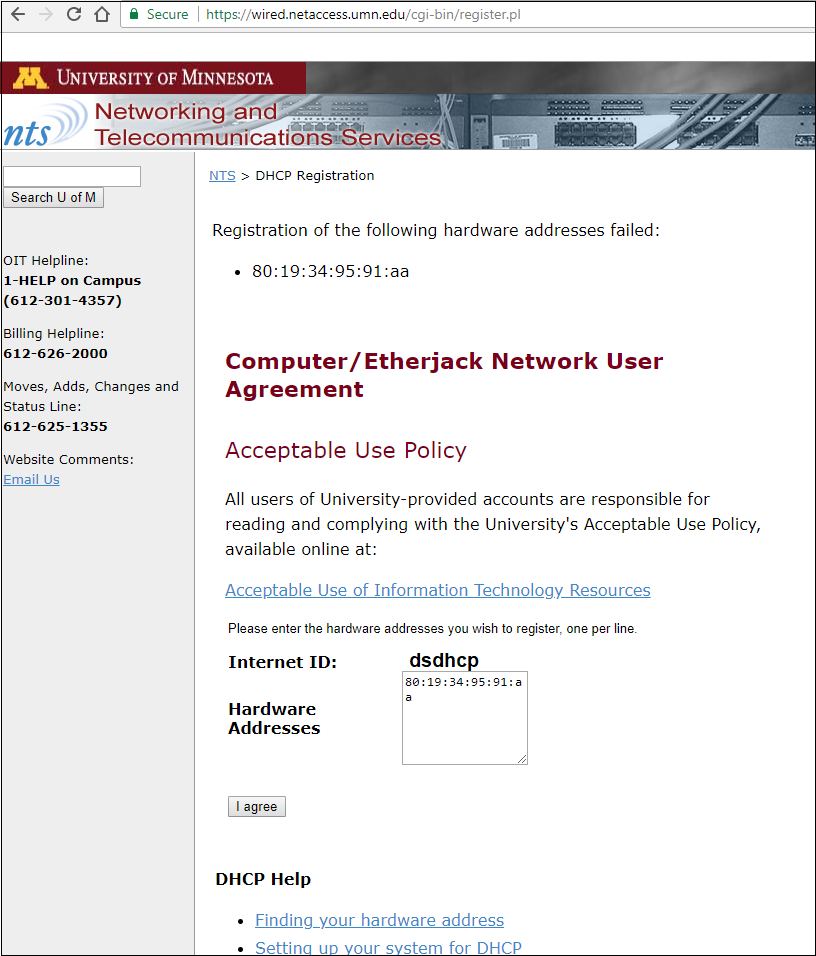 Network and Telecommunications Services DHCP Registration page. The submitted hardware address failed to register.