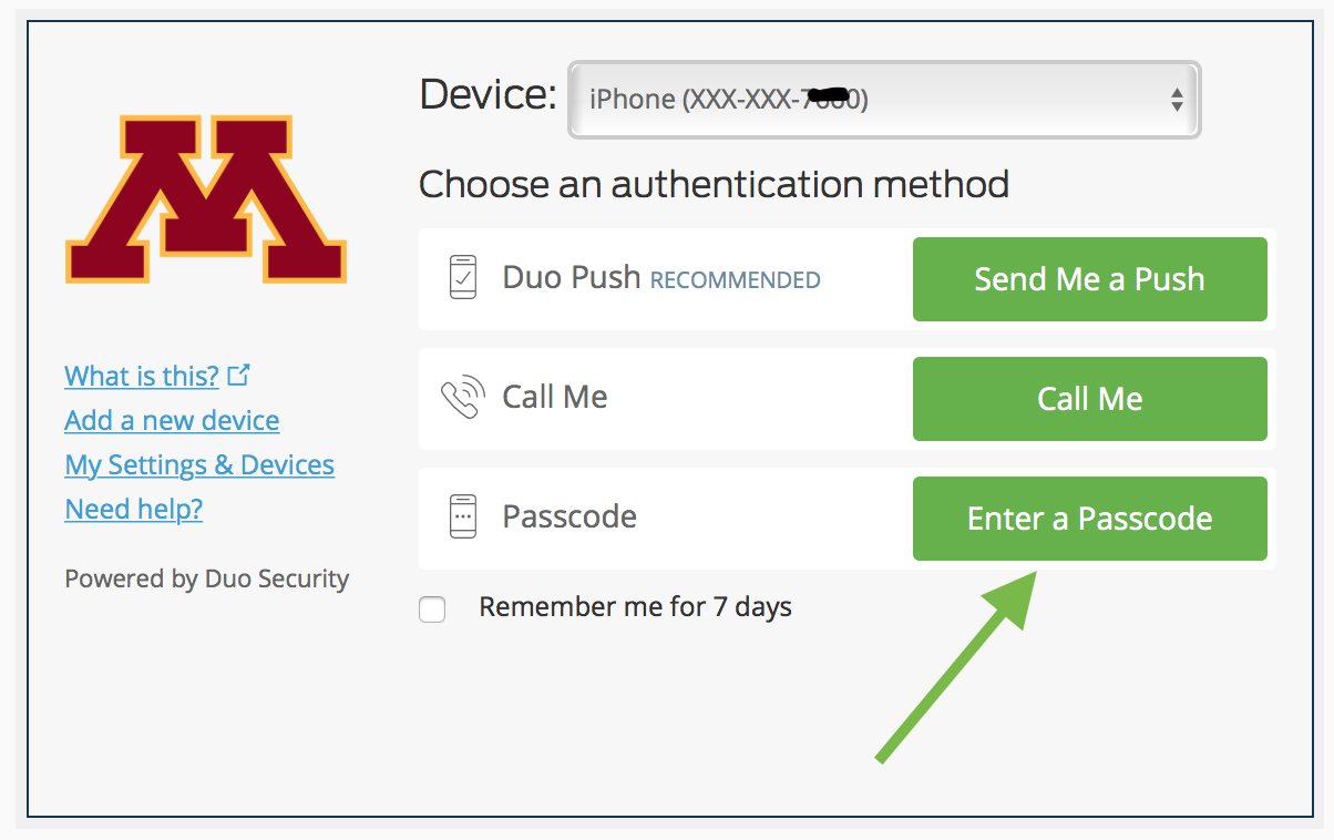Duo Security verify screen with Enter a Passcode selected
