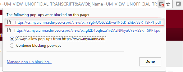 Pop-up blocked dialog box in Chrome. The Always allow pop-ups from this page radio button is selected.