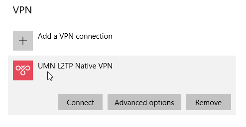 """VPN section of Network and Internet menu. The new network appears under """"Add a VPN connection"""""""