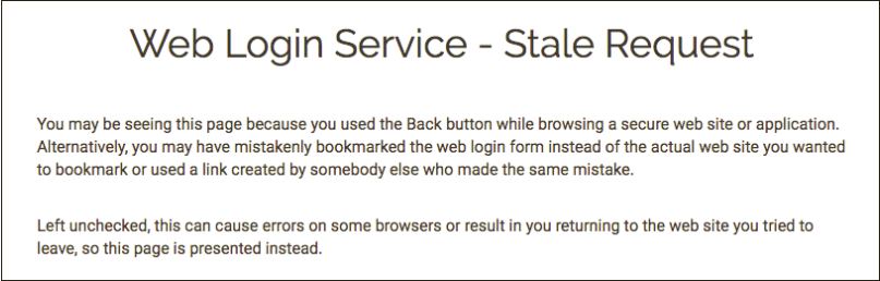 Web Login Service - Stale Request message