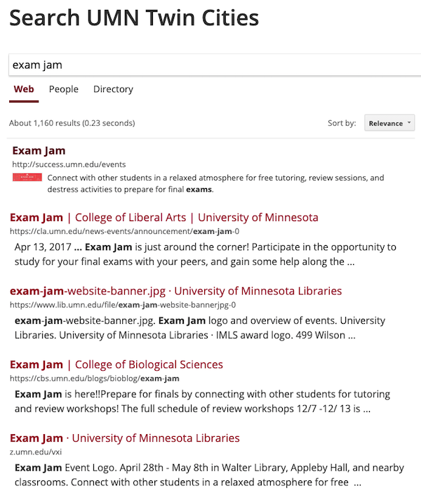 "search results for the phrase ""exam jam"" with the keymatch at the top of the list that links to the user success.umn.edu/events with a title Exam Jam."