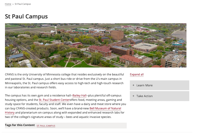 the view of a general page. Shows a title at the top; an image of the saint paul campus in the header region; the body and tags in the left region, and an accordion in the right region.