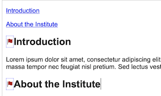 the editing window with two links at the top for the table of contents that has Introduction and About the Institute. There are anchors below on the headings Introduction and About the Institute.