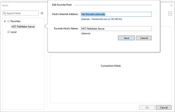 filemaker connection window.  Internet address is hst-fms.ahc.umn.edu and host name is HST FileMaker Server