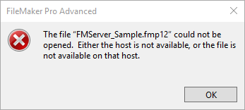 filemaker could not be opened error