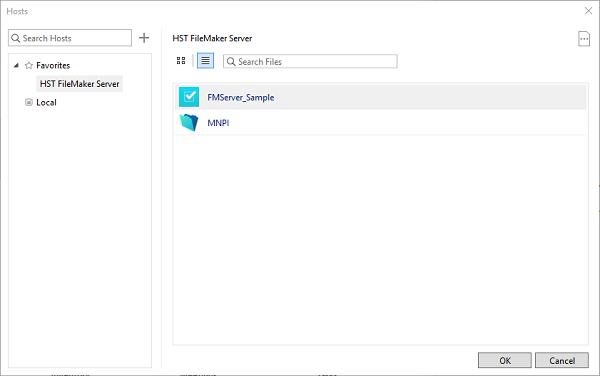 filemaker server select screen
