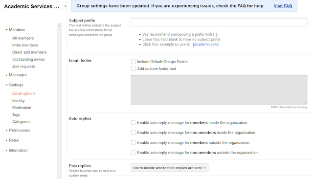 google groups email footer settings in the group settings.