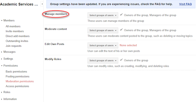 the manage members section of the new groups settings.
