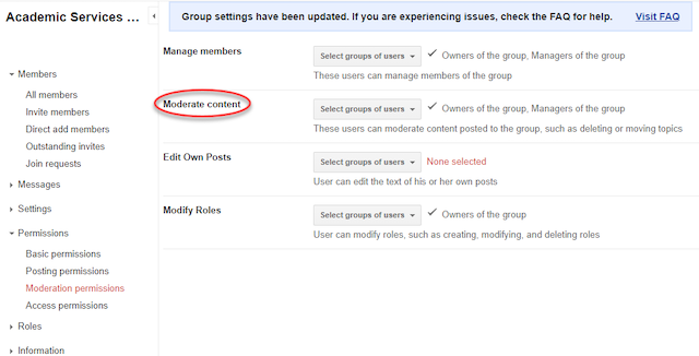 the groups settings with moderate content highlighted in the middle column