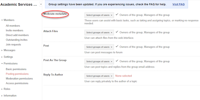 groups settings with moderate metadata highlighted.