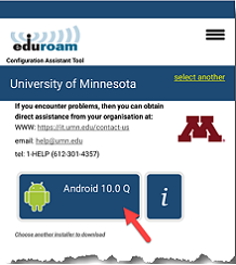 Button with the device's Android version highlighted in the cat.eduroam.org website. As an example, Android 10.0 is seen in this screenshot.