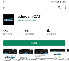 Partial display of the eduroam CAT application from the Google Play Store.