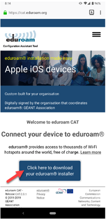 cat.eduroam.org website. 'Click here to download your eduroam installer' button is highlighted.