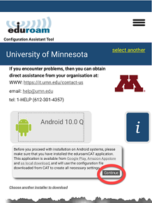 Pop-up window with a message prompting you to install the eduroam CAT application. The Continue button is highlighted.