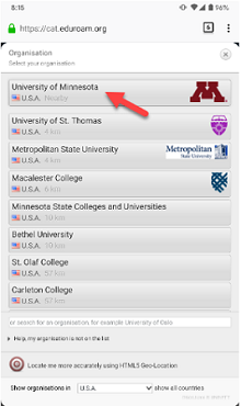 List of participating institutions compatible with eduroam. University of Minnesota is highlighted.