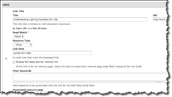 Drupal editor screen for adding links in the self-help guide