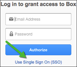 "screenshot of Box ""Use Single Sign On (SSO) link"