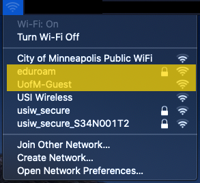 The Mac OS X WiFi menu. eduroam and UofM-Guest are highlighted.