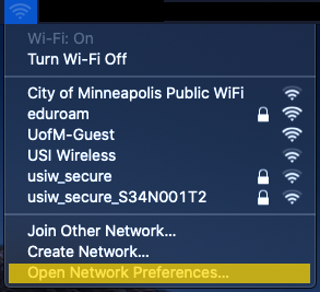 The Mac OS X WiFi connection menu. The Open Network Preferences option is highlighted.