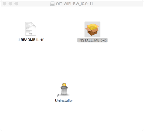 "A Finder window titled OIT-Wireless-BW_10.9-11. It contains three files titled ""!! README !!.rtf"", ""INSTALL_ME.pkg"", and ""Uninstaller""."