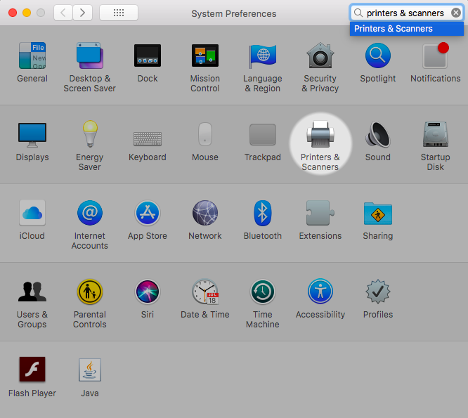 """The System Preferences application is open. """"Printers & Scanners"""" is highlight in the grid of items. Optionally, """"Printers & Scanners"""" is typed into the search box to locate the item."""