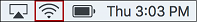 Upper right-hand corner of Mac menu bar. The WiFi status icon is highlighted.