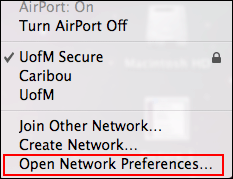 WiFi menu in Mac menu bar. Open Network Preferences is selected.