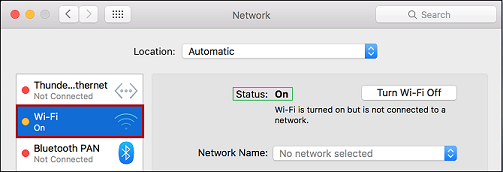 Snippet of Network Preferences window. Wi-Fi is selected. Status is highlighted.
