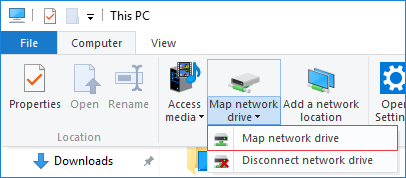 Windows 10 Computer tab in This PC. Map network drive option is highlighted.