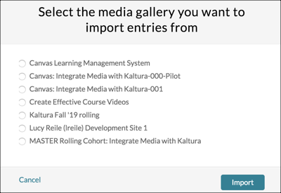 Media Gallery import box with a listing of courses that can have Galleries for importing