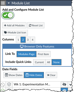 Module List's add and configure module list turned on
