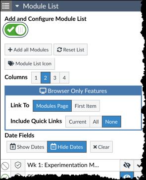 Module List's add and configure module list turned on