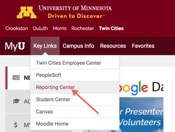 MyU portal with Key Links menu expanded and arrow pointing towards Reporting Center option.