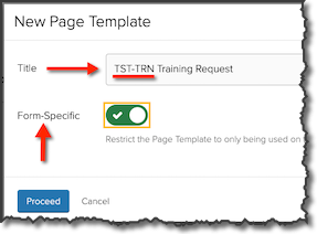 Create New Page dialog window with the Title and the Form-Specific options highlighted.
