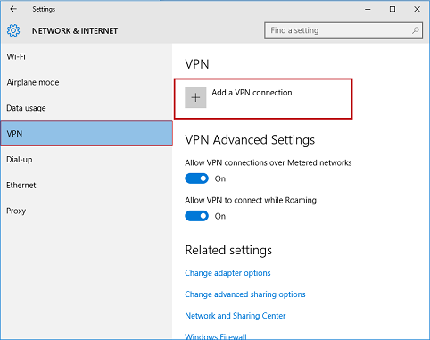 Network & Internet window. VPN is selected and Add a VPN connection option is highlighted.