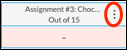 vertical ellipses menu next to an assignment name in Canvas gradebook