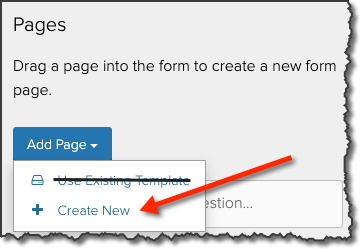 Add Pages drop-down menu with the Create New option highlighted.